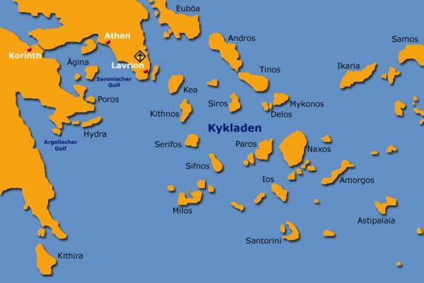 Mitsegeln Griechenland. Karte der Kykladen