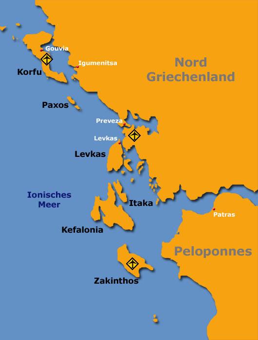 Segeln vor Korfu. Eine Karte des Reviers inklusive der übrigen Ionischen Inseln